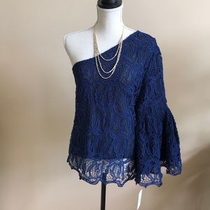 One Shoulder Crocheted Lace Top w/Bell Sleeve  NWT